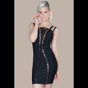 NWT WOW Couture Gold Label LaceUp Bandage Dress, S